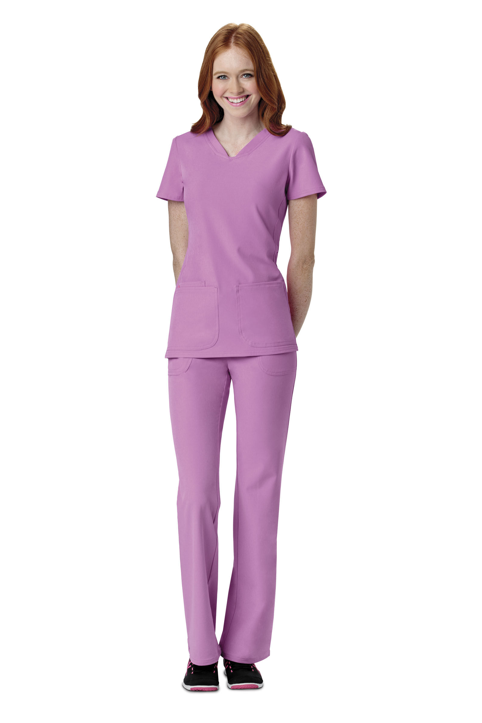 Style lines give the NRG by Barco Uniforms Women's Cargo Scrub Pant a flattering silhouette. Multiple pockets and the adjustable waistband offer the features you love with an updated look.